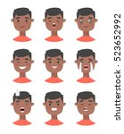 set of male emoji characters.... | Shutterstock .eps vector #523652992