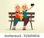 two blonde girls sitting on a...   Shutterstock .eps vector #523654816