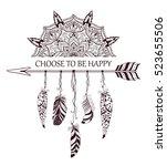 hand drawn boho style design...   Shutterstock .eps vector #523655506