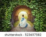 beautiful woman in medieval... | Shutterstock . vector #523657582