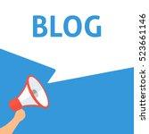 blog announcement. hand holding ... | Shutterstock .eps vector #523661146