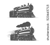 vintage steam train isolated on ...   Shutterstock .eps vector #523665715