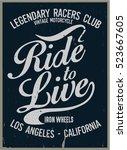 vintage biker graphics and... | Shutterstock .eps vector #523667605