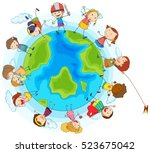 lots of children around the... | Shutterstock .eps vector #523675042
