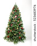 Stock photo beautiful christmas tree isolated on a white background 523683976