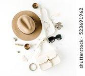 flat lay trendy creative... | Shutterstock . vector #523691962