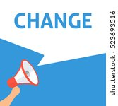 change announcement. hand... | Shutterstock .eps vector #523693516
