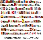 big size colorful newspaper ... | Shutterstock . vector #523695022