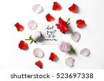Stock photo quote dont forget to be awesome written on paper with petals and flowers top view 523697338
