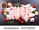 fresh chicken meat on dark...   Shutterstock . vector #523702306