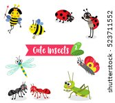 cute insects animal cartoon on...