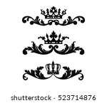 ornate scroll and decorative... | Shutterstock .eps vector #523714876