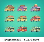 set of flat food truck icons.... | Shutterstock .eps vector #523715095