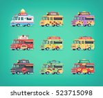 set of flat food truck icons.... | Shutterstock .eps vector #523715098