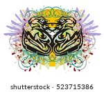 grunge stylized fishes and... | Shutterstock .eps vector #523715386