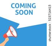 coming soon announcement. hand... | Shutterstock .eps vector #523716415