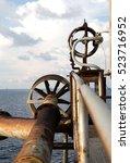 offshore construction platform... | Shutterstock . vector #523716952