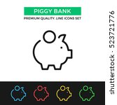 vector piggy bank icon. savings ... | Shutterstock .eps vector #523721776