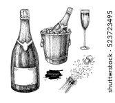 champagne set. champagne glass  ... | Shutterstock .eps vector #523723495
