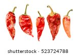 Dry Red Chili Pepper On A Whit...