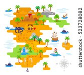 pirate treasure map vector flat ... | Shutterstock .eps vector #523728082