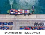 container ship in export and... | Shutterstock . vector #523729435