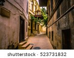 walking on empty in old town of ... | Shutterstock . vector #523731832