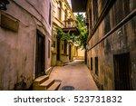 walking on empty in old town of ... | Shutterstock . vector #523731832