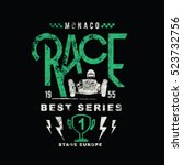 classic vintage race car racing ... | Shutterstock .eps vector #523732756
