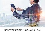 senior businessman use tablet . ... | Shutterstock . vector #523735162
