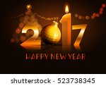 data 2017 with candle  ball on ... | Shutterstock .eps vector #523738345