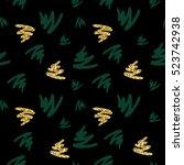 gold glitter and green brush... | Shutterstock .eps vector #523742938