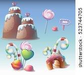 set of caramel vector... | Shutterstock .eps vector #523744705