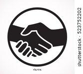 black icon handshake.... | Shutterstock .eps vector #523752202
