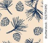 vector pinecone pattern... | Shutterstock .eps vector #523754392