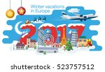 new year and winter travel... | Shutterstock .eps vector #523757512