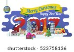 new year and winter travel... | Shutterstock .eps vector #523758136