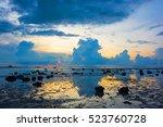 low tide rocky beach seaside in ...