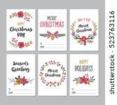 christmas greeting printable... | Shutterstock .eps vector #523763116