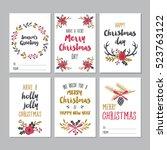 christmas greeting printable... | Shutterstock .eps vector #523763122