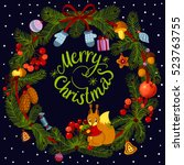 christmas wreath with... | Shutterstock .eps vector #523763755