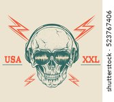 retro label with skull in... | Shutterstock .eps vector #523767406