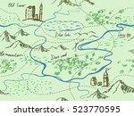 aged fantasy vintage seamless... | Shutterstock .eps vector #523770595