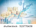 stacks of gold coins on banking ... | Shutterstock . vector #523770658