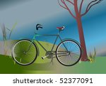 traditional bicycle parked by a ... | Shutterstock .eps vector #52377091