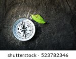Compass On Earth With Green...