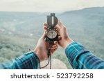 female traveler searching... | Shutterstock . vector #523792258