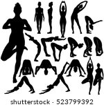 silhouettes of slim young girl... | Shutterstock .eps vector #523799392