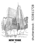 new york city  usa  skyscrapers ... | Shutterstock .eps vector #523811728
