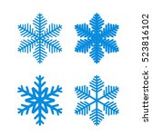 snowflake icons set. blue... | Shutterstock .eps vector #523816102
